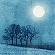 Winter Moon Over Farm Field Poster