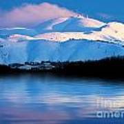 Winter Mountains And Lake Snowy Landscape Poster by Anna Om