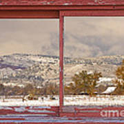 Winter Rocky Mountain Foothills Red Barn Picture Window Frame Ph Poster