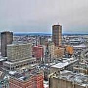 Winter Scene Downtown Buffalo Poster
