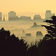 Winter Smog Over The City Poster