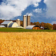Wisconsin Farm In Fall Poster