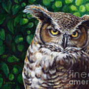 Wisdom Great Horned Owl Poster