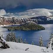 Wizard Island After Summer Snowfall Poster