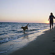 Woman And Dog Running On Beach, Nags Poster