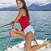 Woman Boating At Kaneohe Poster