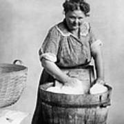 Woman Doing Laundry In Wooden Tub Poster