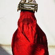 Woman Draped In Red Chadri Carries Poster by Thomas J Abercrombie