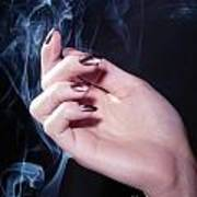 Woman Hand In A Stream Of Smoke Poster
