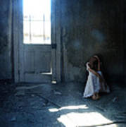 Woman Hiding In Abandoned Room Poster