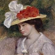 Woman In A Flowered Hat Poster