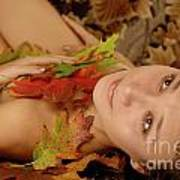 Woman In Fallen Leaves Poster
