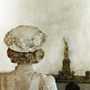 Woman In Hat Viewing The Statue Of Liberty  Poster by Jill Battaglia