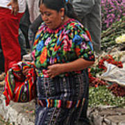 Woman In Traditional Guatemalan Dress Poster