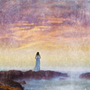 Woman In Vintage Dress At The Rocky Shore At Dawn Poster