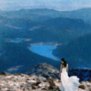 Woman In White Gown On Mountain Top Poster