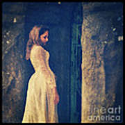 Woman In White In Doorway Poster