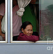 Woman On Bus Laos Poster