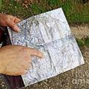 Woman On Country Road Pointing Map Poster