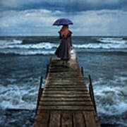 Woman On Dock In Storm Poster
