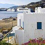 Woman On The Terrace - Mykonos Poster