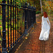 Woman Walking In Long White Gown Poster