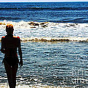 Woman Walking Into Ocean Surf  Poster