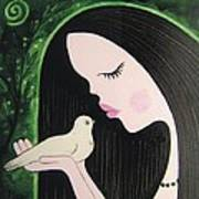 Woman With Dove Poster