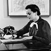 Woman Writing At Desk Poster