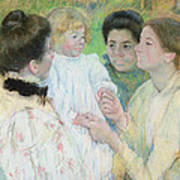 Women Admiring A Child Poster by Mary Stevenson Cassatt