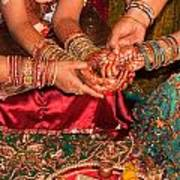 Women With Decorated Hands Holding Hands In A Hindu Religious Ceremony Poster