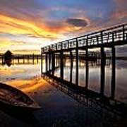 Wood Bridge In Sunset Thailand Poster by Arthit Somsakul