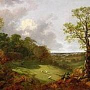 Wooded Landscape With A Cottage - Sheep And A Reclining Shepherd Poster