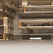 Wooden Pallets Stacked Up Poster