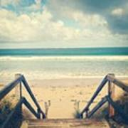 Wooden Steps At Beach Poster