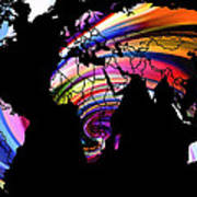 World Map Abstract Painting 2 Poster