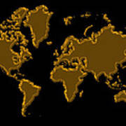 World Map Gold Poster