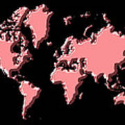 World Map Pink Poster