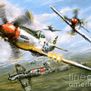 World War 2 P 51d Thisizit Checkertails Poster