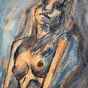 Worried Young Nude Female Teen Leaning And Filled With Angst In Orange And Blue Watercolor Acrylics Poster