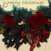 Wreath Garland Greeting Poster by DigiArt Diaries by Vicky B Fuller