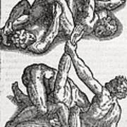 Wrestling Moves, 16th Century Artwork Poster by Middle Temple Library