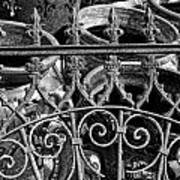 Wrought Iron Gate And Pots Black And White Poster