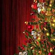 Xmas Tree On Red Poster