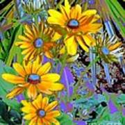 Yellow Daisies Poster by Doris Wood