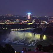 Yellow Light Over The Niagara Falls  - Canada Poster