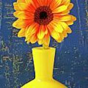 Yellow Mum In Yellow Vase Poster