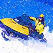Yellow Snowmobile In Blizzard Poster