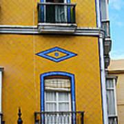 Yellow Tile Building In Cadiz Spain Poster