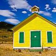 Yellow Western School House Poster